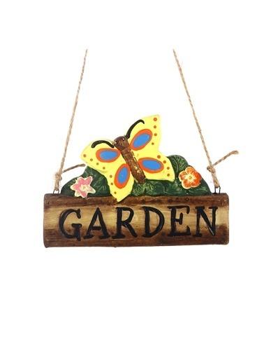 Bosphorus 18 X 8 X 1 Cm Kelebek Şekilli Garden Yazılı Ip Askılı Balkon Ve Bahçe Süsü Sarı